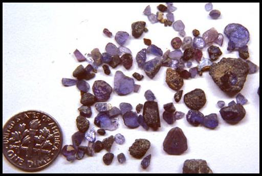 Yogo Gulch, Montana, Rough Sapphire Crystals